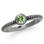 Natural Peridot 925 Sterling Silver Stack/Stackable Balinese Ring