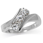 3-Stone White CZ 925 Sterling Silver Ring