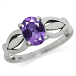 1.14ct. Natural African Amethyst 925 Sterling Silver Solitaire Ring