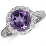 2.3ct. Natural Amethyst & Topaz White Gold Plated 925 Sterling Silver Cocktail Ring