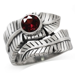 Natural Garnet 925 Sterling Silver Bypass BANANA LEAF Ring