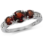 1.72ct. 3-Stone Natural Garnet & Topaz White Gold Plated 925 Sterling Silver Ring