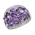 3.93ct. Natural Amethyst & Topaz White Gold Plated 925 Sterling Silver Cluster Cocktail Ring