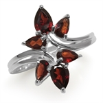 2.16ct. Natural Garnet 925 Sterling Silver Bypass Leaf Ring