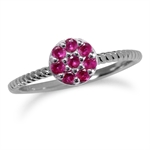 Simulated Ruby White Gold Plated 925 Sterling Silver Stack/Stackable Cluster Ring