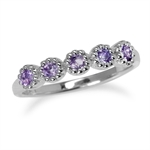 5-Stone Natural Amethyst White Gold Plated 925 Sterling Silver Stack/Stackable Ring