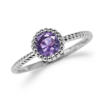 Natural Amethyst White Gold Plated 925 Sterling Silver Stack/Stackable Solitaire Ring