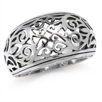 925 Sterling Silver Victorian Style Filigree Dome Ring