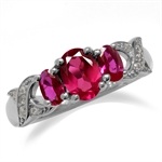 1.4CTW 3-Stone Synthetic Red Ruby White Gold Plated 925 Sterling Silver Ring