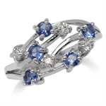Tanzanite Blue CZ White Gold Plated 925 Sterling Silver Ribbon Ring
