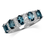 1.35ct. Genuine 5-Stone London Blue Topaz Gold Plated 925 Sterling Silver Ring