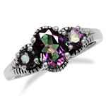 1.34ct. 3-Stone Mystic Fire Topaz 925 Sterling Silver w/Antique Finishing Ring