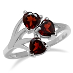 1.89ct. 3-Stone Heart Shape Natural Garnet 925 Sterling Silver Vine Inspired Ring