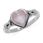 Heart Shape Pink Mother Of Pearl 925 Sterling Silver w/Antique Finishing Rope Casual Ring