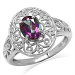 1.5ct. Mystic Fire Topaz White Gold Plated 925 Sterling Silver Victorian Style Filigree Ring
