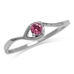Petite Natural Rhodolite Garnet White Gold Plated 925 Sterling Silver Solitaire Promise Ring
