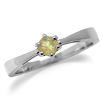 Petite Genuine Opal White Gold Plated 925 Sterling Silver Solitaire Promise Ring