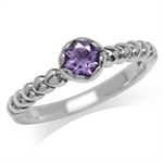 Natural Amethyst 925 Sterling Silver Heart Pattern Stack/Stackable Solitaire Ring