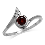Petite Natural Garnet 925 Sterling Silver White Gold Plated Wing Ring
