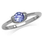 Petite Genuine Tanzanite White Gol...