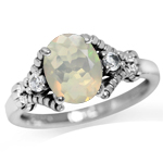 Genuine Opal & White Topaz 925 Sterling Silver Rope Cocktail Ring