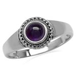Cabochon Amethyst White Gold Plated 925 Sterling Silver Rope Solitaire Ring