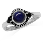 Genuine Lapis & Black Spinel 925 Sterling Silver Bali/Balinese Style Ring