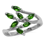 Genuine Chrome Diopside 925 Sterling Silver Leaf Inspired Ring