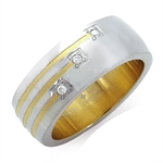 3-Stone Natural White Diamond Two-Tone Stainless Steel Wedding Band Ring
