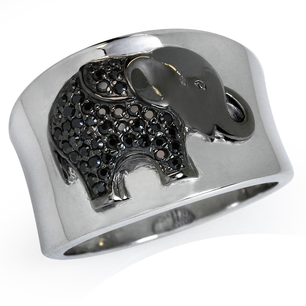 black cz white gold plated 925 sterling silver elephant