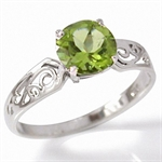 2.21ct. Natural Peridot 925 Sterling Silver Filigree Solitaire Ring