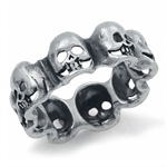 Heavy 925 Sterling Silver SKULL Wide Band Ring