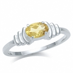 Natural Citrine 925 Sterling Silver Solitaire Ring