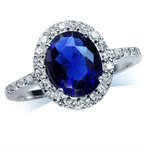 Sapphire Blue & White CZ 925 Sterling Silver Glamorous Ring
