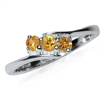 3-Stone Natural Orange Sapphire 925 Sterling Silver Ring