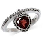 Dangle Heart Shape Garnet 925 Sterling Silver Stack/Stackable Ring