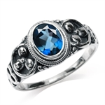 1.43ct. Genuine London Blue Topaz 925 Sterling Silver Balinese Ring