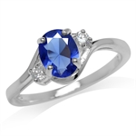 Tanzanite Blue & White CZ 925 Sterling Silver Engagement Ring