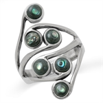 Abalone/Paua Shell 925 Sterling Silver Cluster Ring