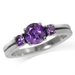 Natural African Amethyst 925 Sterling Silver Engagement Ring