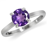 1.19ct. Naturall Amethyst 925 Sterling Silver Butterfly Solitaire Ring