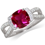 Simulated Ruby & White CZ 925 Sterling Silver Classic Ring