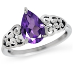 1.15ct. Natural African Amethyst 925 Sterling Silver Filigree Victorian Style Ring
