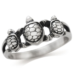 925 Sterling Silver Three TURTLE Ring