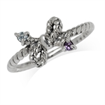 Natural Amethyst & Blue Topaz 925 Sterling Silver Stackable Ribbon/Bow Ring