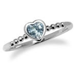Genuine Blue Topaz 925 Sterling Silver Stack/Stackable Heart Solitaire Ring