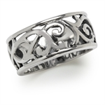 9MM Wide Band 925 Sterling Silver Victorian Style Filigree Ring