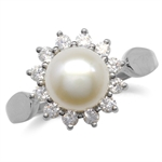 7MM Cultured White Pearl Gold Plated 925 Sterling Silver Sunflower Ring