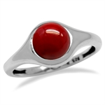 Created Red Coral White Gold Plated 925 Sterling Silver Solitaire Casual Ring