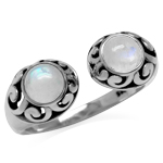 Natural Moonstone 925 Sterling Silver Filigree Open Front Ring